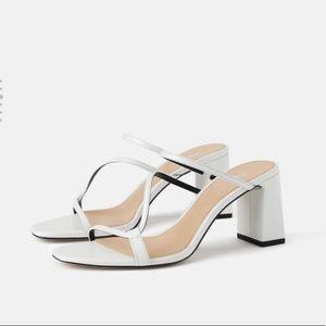 Zara strappy white heels